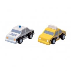 Taxi y coche de policía