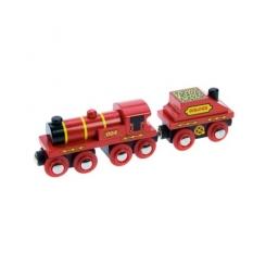 Locomotora roja y  vagón de carbón